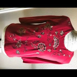 Red Koret cotton blend embroidered light sweater